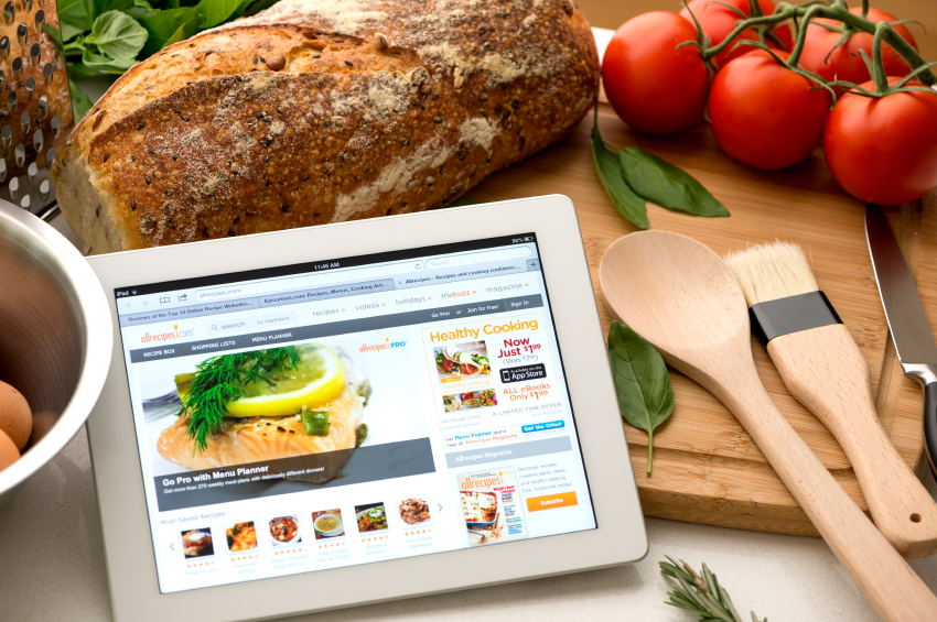 allrecipes.com website on a digital tablet